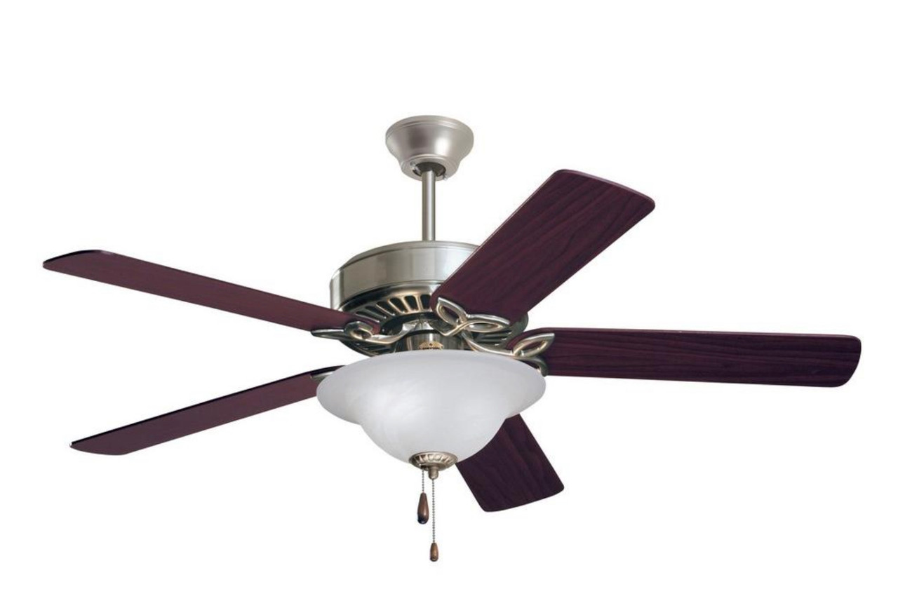 "Ceiling Fan, Pro Series 50"", 5 Blade, Brushed Steel Ceiling Fan with Mahogany or Dark Cherry reversible blades, 120V, Removable light fixture, 4.5"" Downrod, EMERSON FAN (CF712BS)"