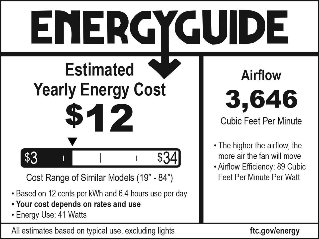"""52"""" Minka Aire Fan (F556L-BN) Energy Guide"""