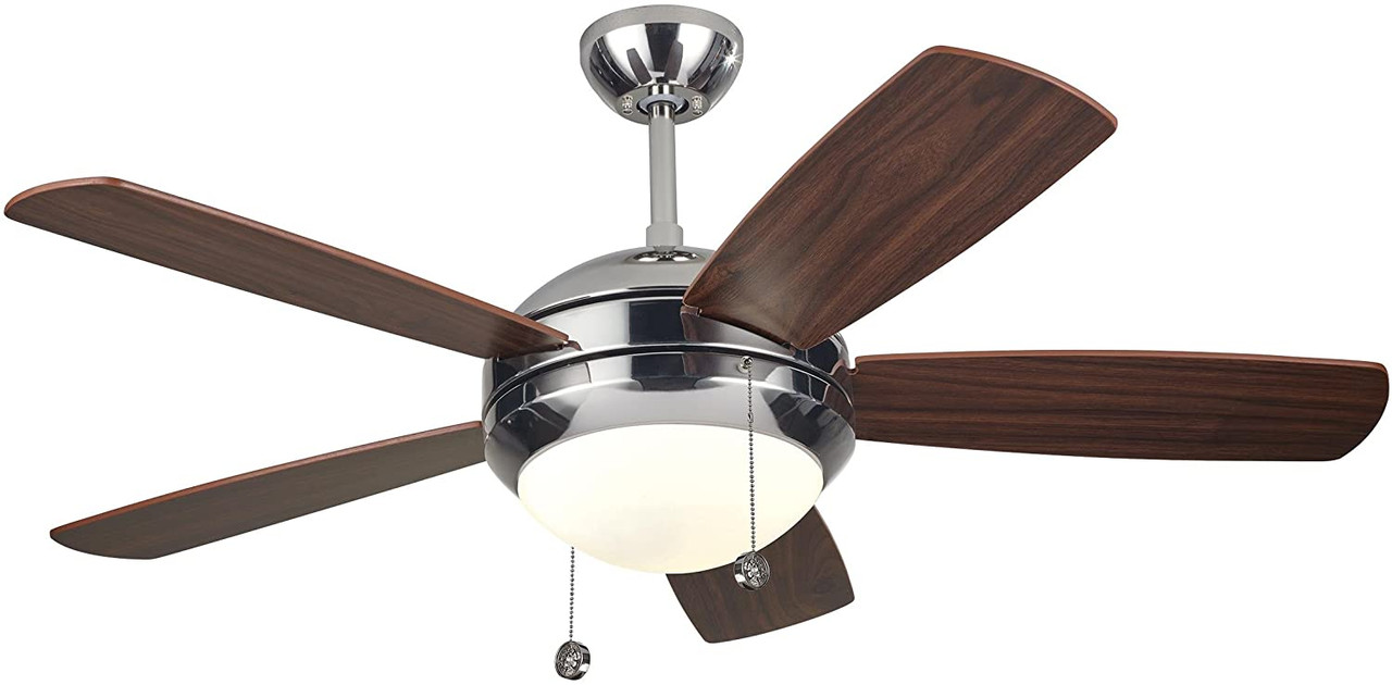 "Discus II 44"", 5 Blade Ceiling Fan, Polished Nickel Finish with American Walnut Blade Finish with Matte Opal Glass, 120V, 3 Speed, Reversible, Includes Light, Monte Carlo Fan (5DI44PND)"