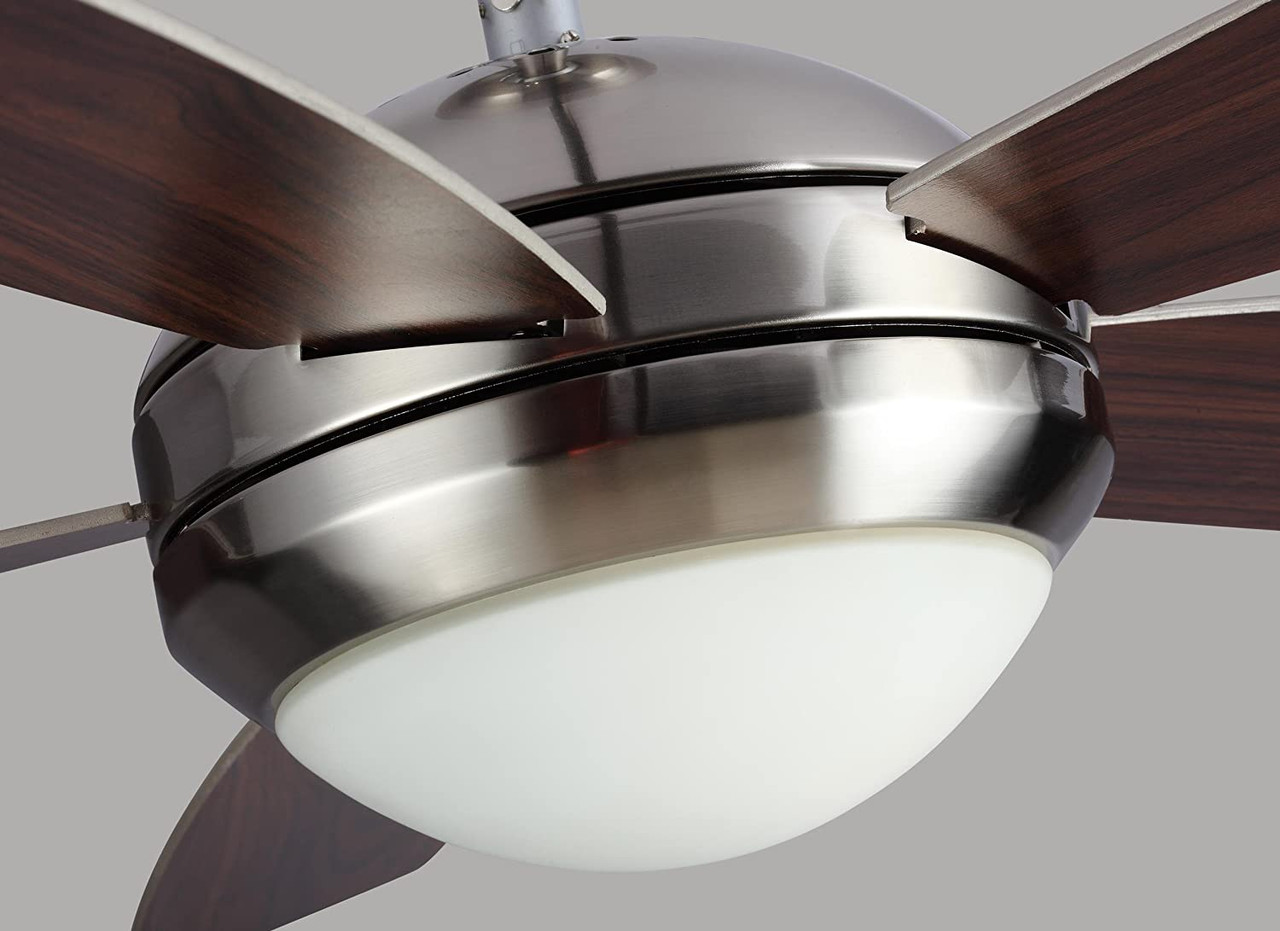 "Discus II 44"", 5 Blade Ceiling Fan, Polished Nickel Finish with American Walnut Blade Finish with Matte Opal Glass, Monte Carlo Fan (5DI44PND)"