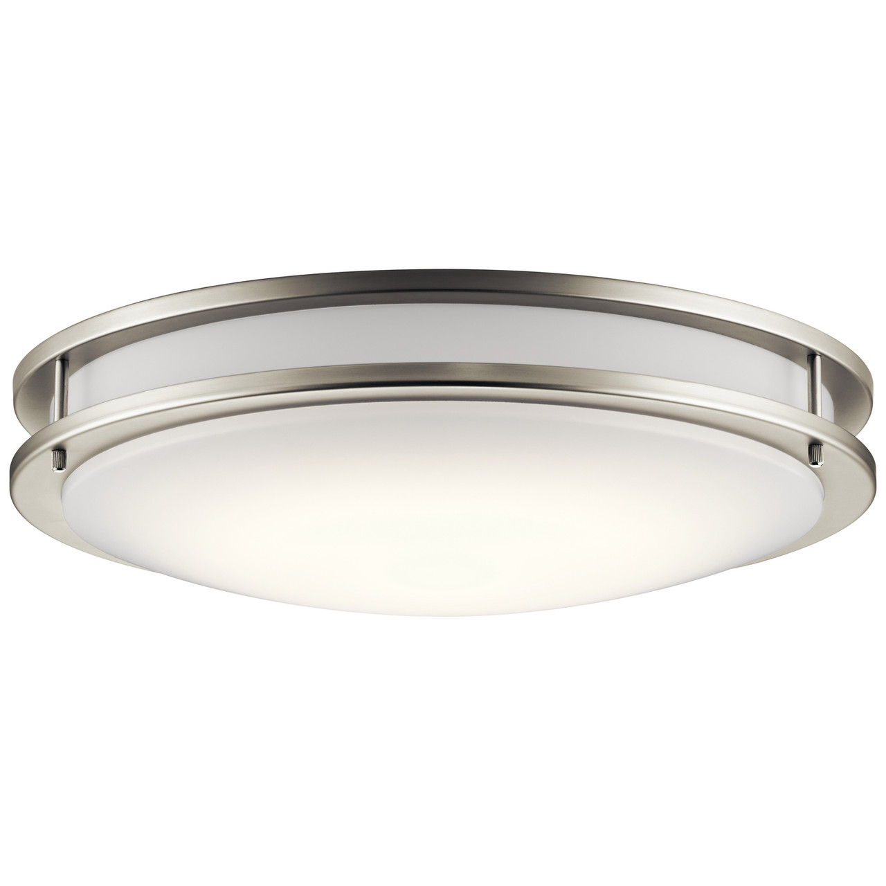 Kichler Flush Mount Brushed Nickel, White Diffuser, Wall or Ceiling Mount, 1790 Lumens, Dimmable, 120V, 34W, 3000K (10786NILED)