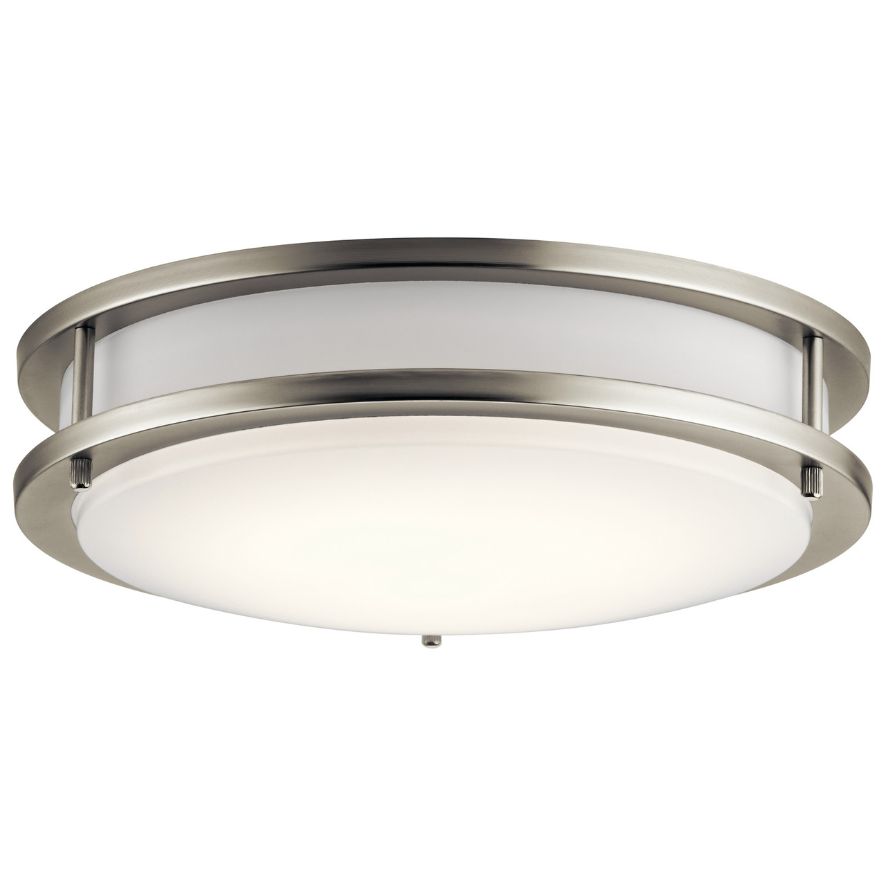 Kichler Flush Mount LED Decorative Light, Brushed Nickel, White Diffuser, Wall or Ceiling Mount, 1280 Lumens, Dimmable, 120V, 23W, 3000K (10784NILED)