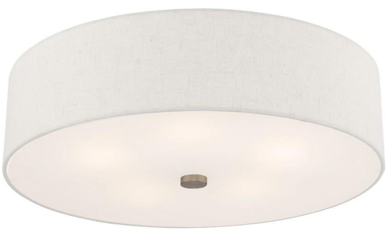 "Livex Lighting, Meridian 5 Light Ceiling Mount, 22"" Semi Flush Mount, English Bronze finish with Handcrafted Oatmeal Fabric Hardback Shade, Ceiling Mount, 120V, 5 x 60 Watt Incandescent (52141-92)"