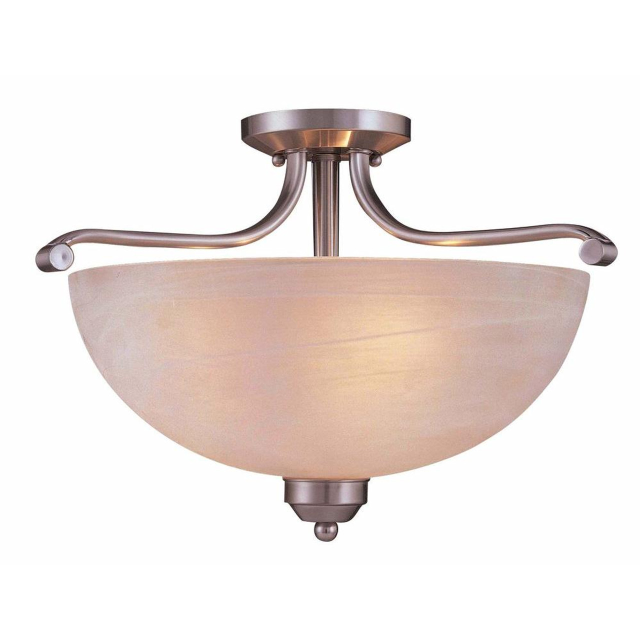 "Minka Lavery Paradox Light, 14.75"" Semi Flush Mount, Brushed Nickel with Etched Marble Glass shade, 120V, 3 Bulb Incandescent, E26 Base (1424-84)-3000 kelvin LED Bulbs"