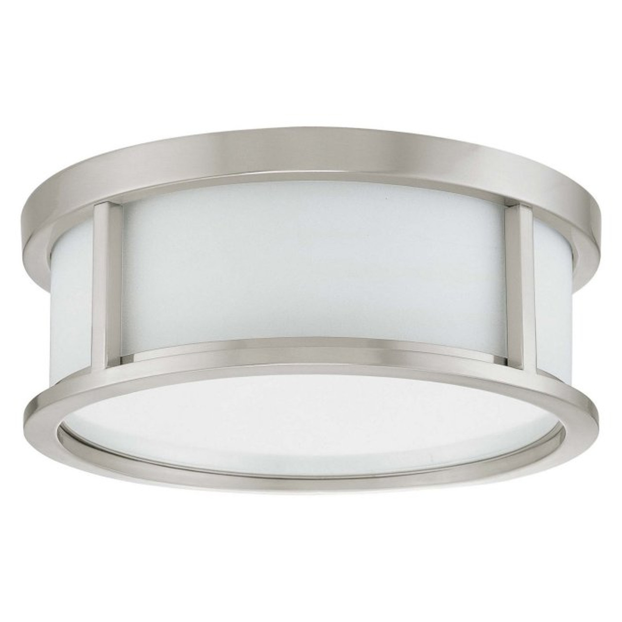 """Nuvo Odeon 13"""", Brushed Nickel with Satin White Glass, 2 Light, Ceiling Mount Flush Dome with Satin White Glass, 120V, 2@60W (60-2859)"""