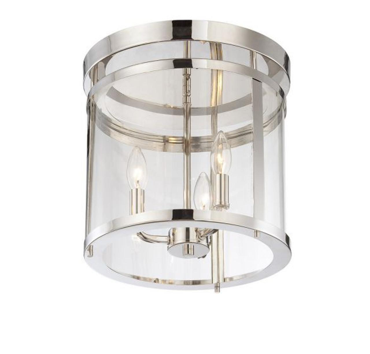 "Savoy House Penrose 13"", 3 Light, Polished Nickel, Semi-Flush Ceiling Light, Dimmable, 120V (6-1043-3-109)"