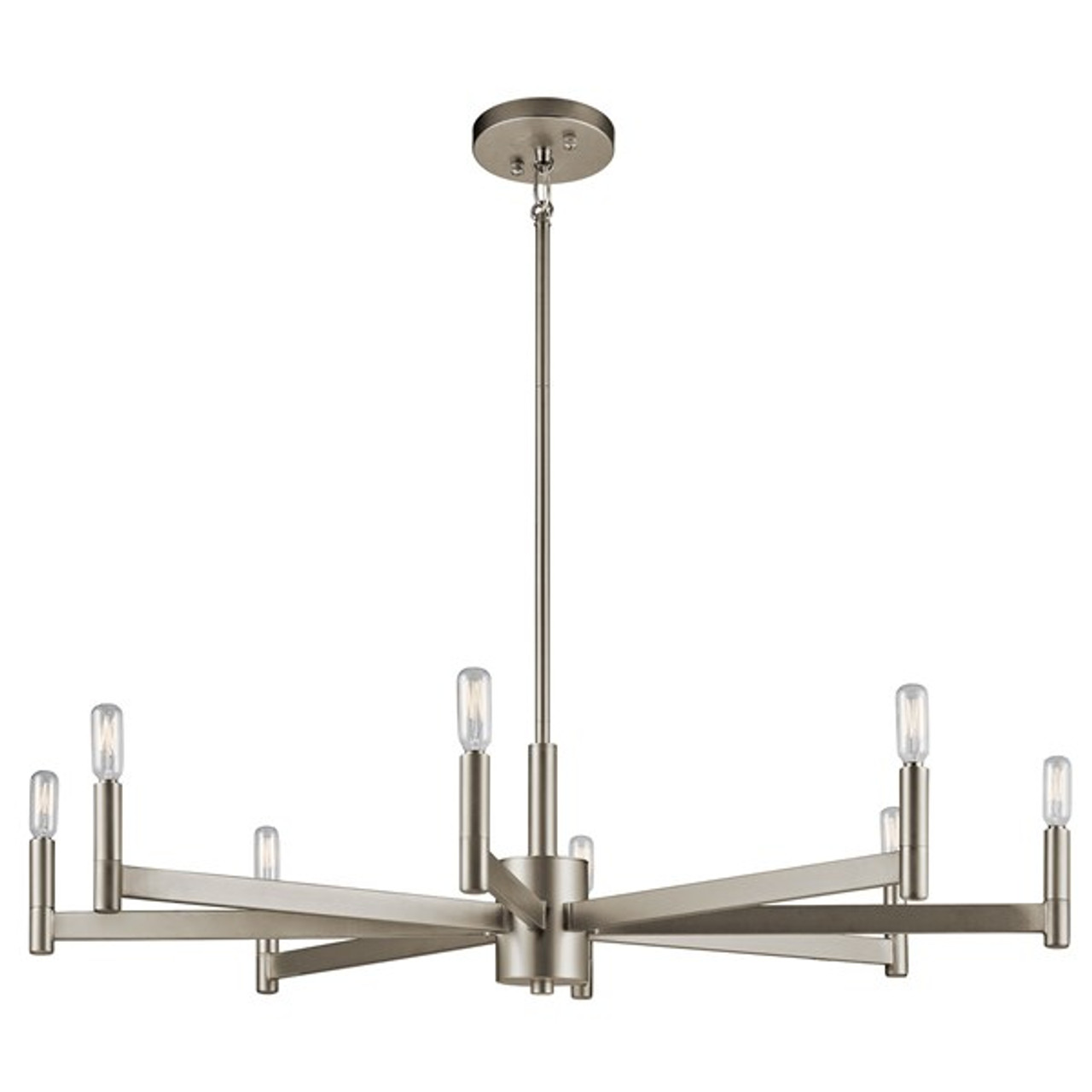 "Ezro 35.5"" Eight Light Chandelier by Kichler, Satin Nickel finish, 120V, 480W, Dimmable, ETL Listed Dry (43857SN)"