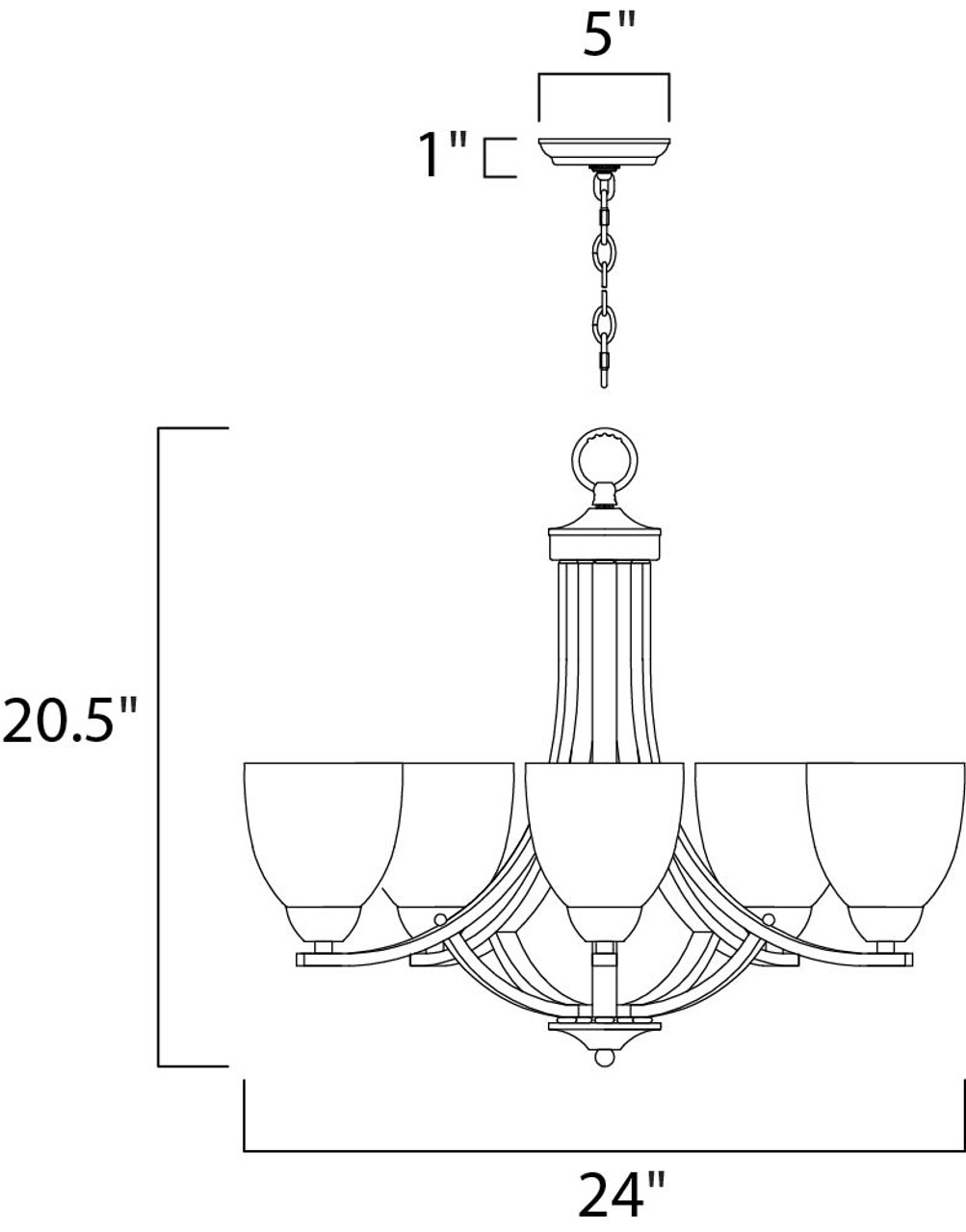 Axis 5-Light Single Tier Chandelier, Satin Nickel finish with Frosted Glass Shades, 120V, 300W, ETL Listed Dry (11225FTSN)