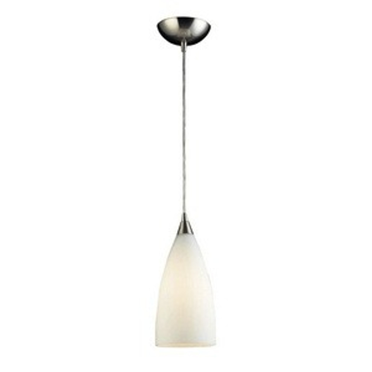 "Vesta - 12"" 9.5W 1 LED Mini Pendant, Satin Nickel Finish with White Glass, 120V, 10W, 800LM (2580-1-LED)"