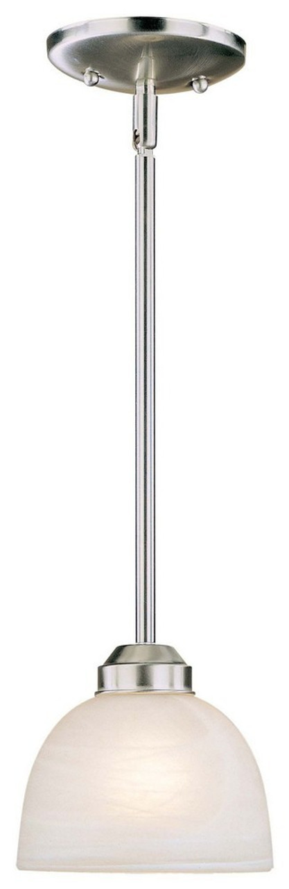 Paradox One Light Mini Pendant by Minka Lavery, Brushed Nickel Finish with Etched Marble Glass, 120V, 100W, UL Listed (1421-84)