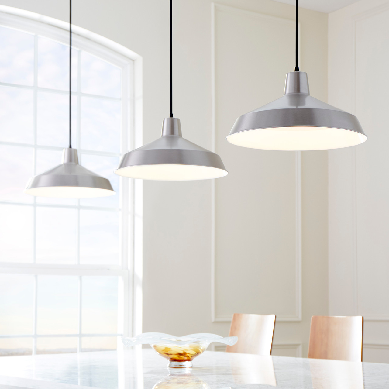 One Light Pendant by Quorum, Satin Nickel finish, 120V, 100W, UL Listed (6822-65)
