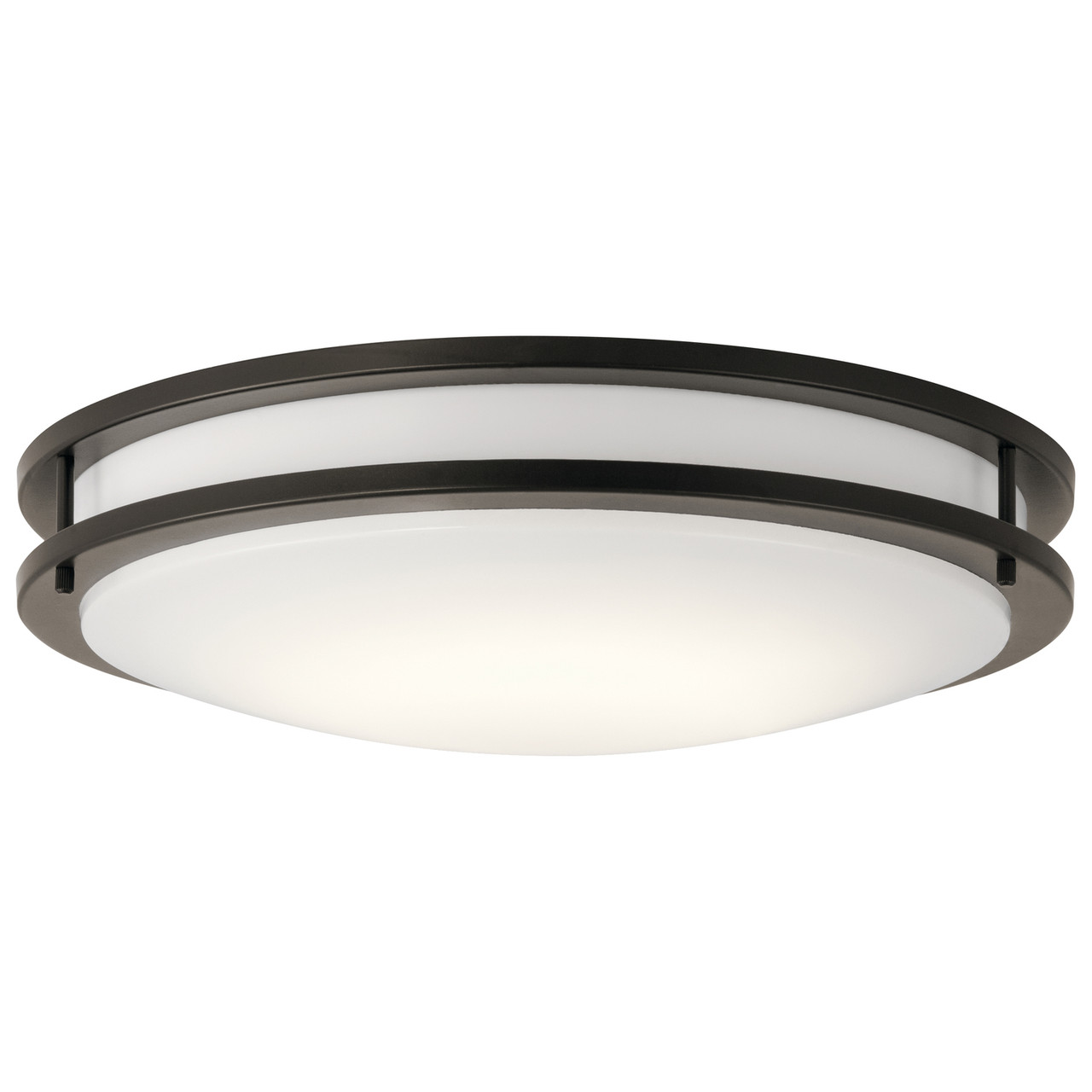 Kichler Flush Mount LED Decorative Light, Olde Bronze, White Diffuser, Wall or Ceiling Mount, 1790 Lumens, Dimmable, 120V, 34W, 3000K (10786OZLED)