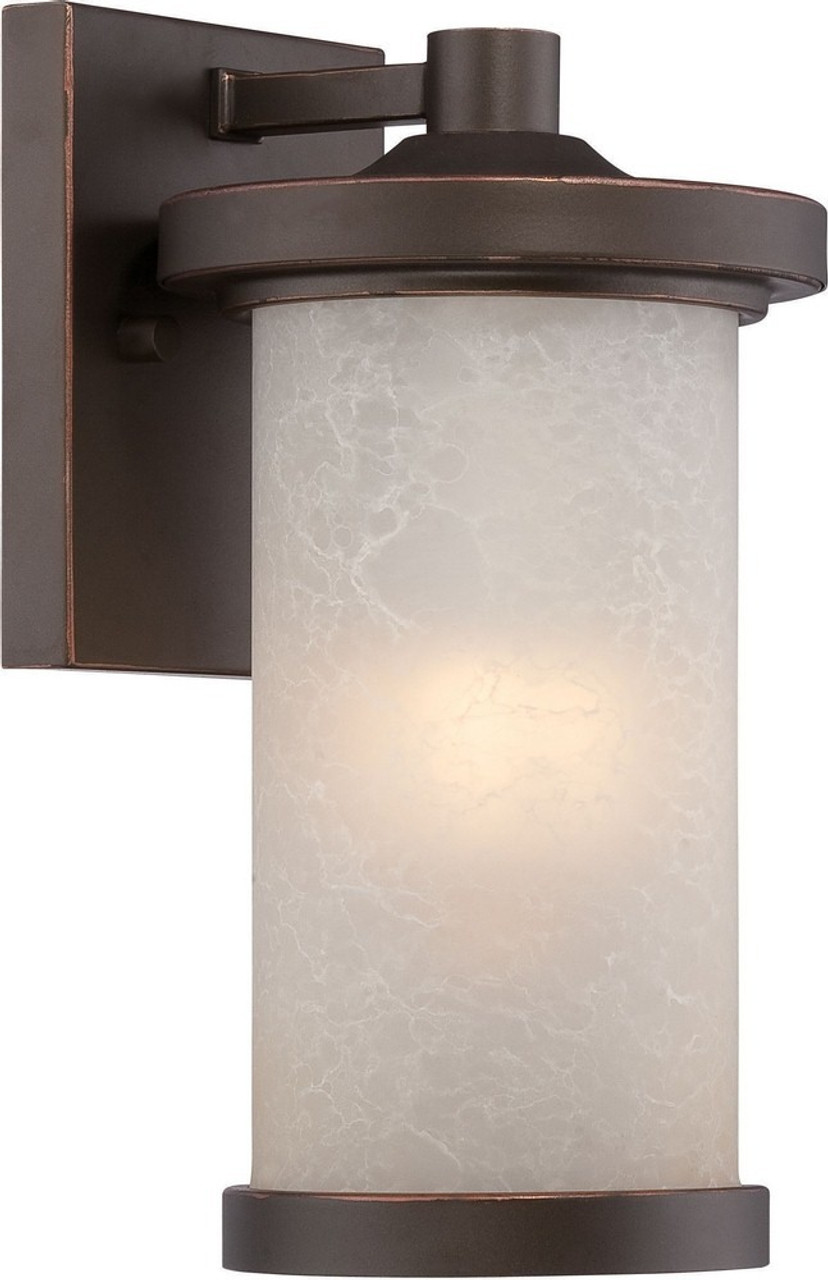 "Diego, 10.38"", 1 LED Outdoor Small Wall, Mahogany Bronze Finish with Satin Amber Glass, 120V, 10W UL Listed (62-641)"
