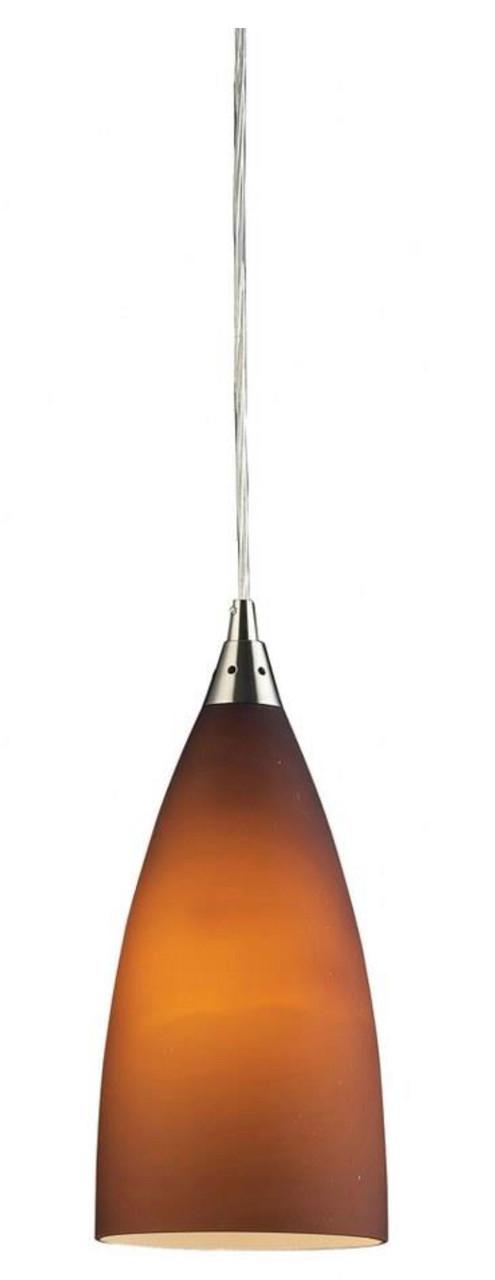 "Vesta - 12"" 9.5W 1 LED Mini Pendant, Satin Nickel Finish with Peach Gray Plated Blown Glass, 120V, 10W, 800LM (2582-1-LED)"