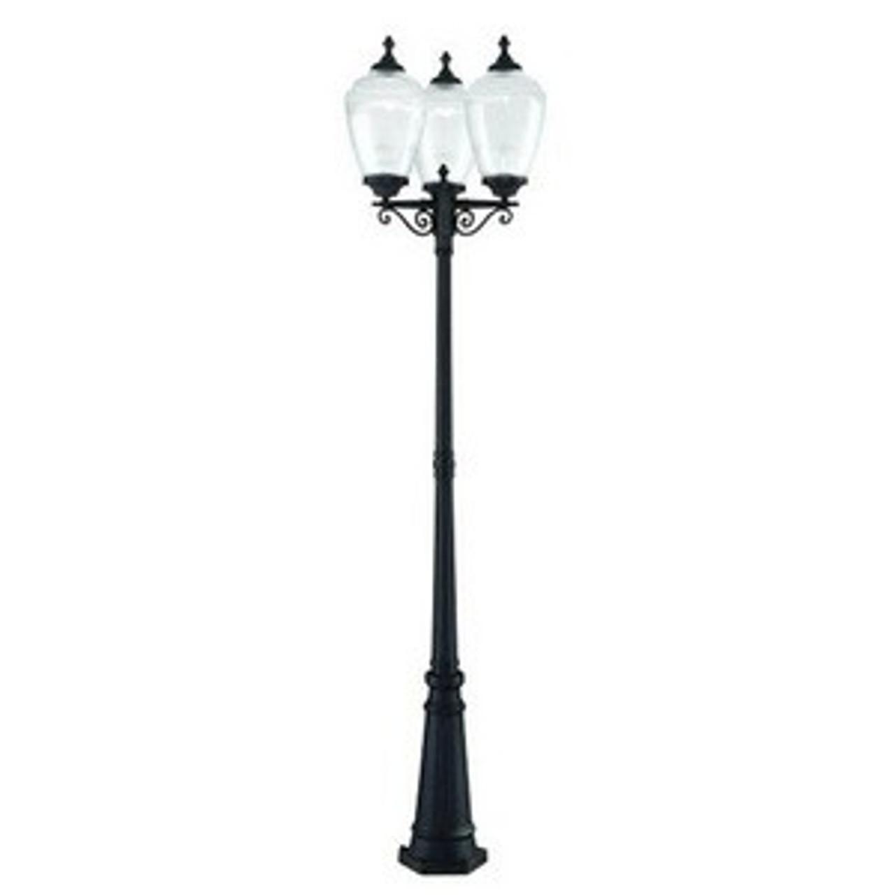 Acorn Three Light Post Lantern by Acclaim Lighting, Matte BlackFinish with Clear Prismatic Acrylic Glass, 120V, 60W each bulb, UL Listed (5369BK-CL)