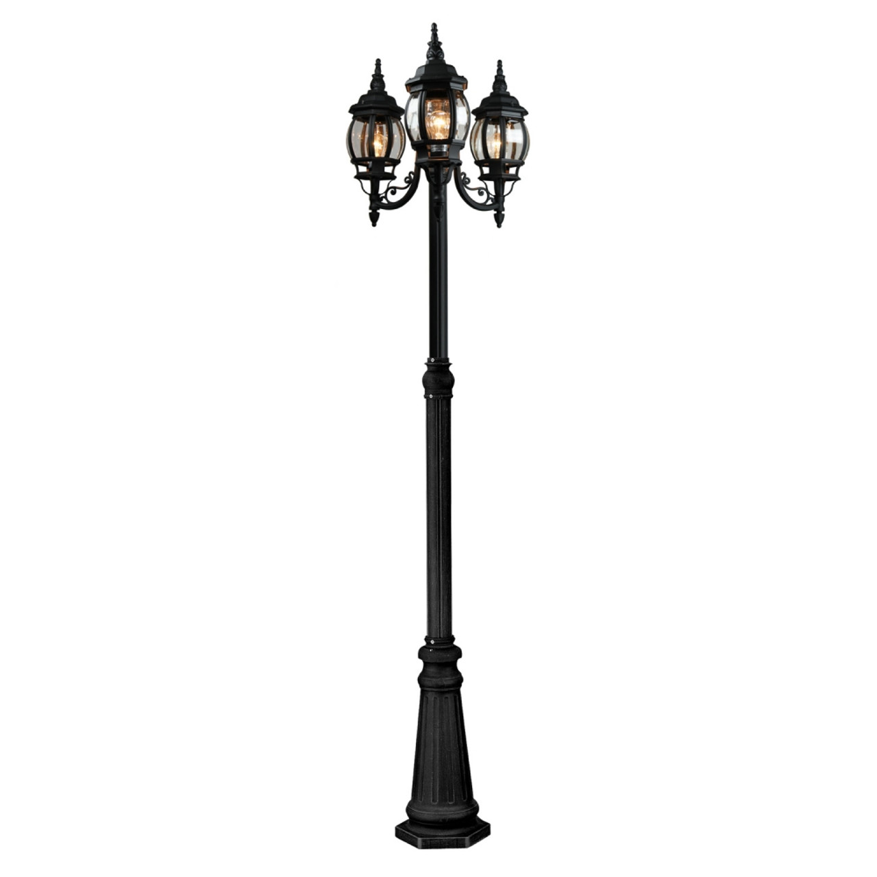 Classico Three Light Post Lantern by Artcraft Lighting, Black Finish with Clear Glass, 120V, 100 W each bulb, UL Listed (AC8099BK)