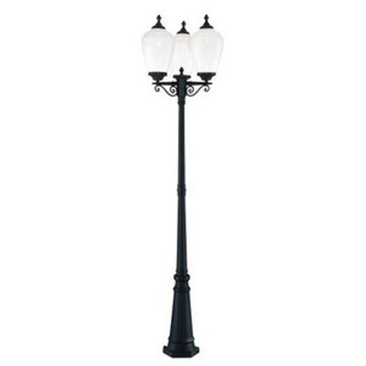 Acorn Three Light Post Lantern by Acclaim Lighting, Matte Black Finish with Opal Acrylic Glass (5369BK-WH)