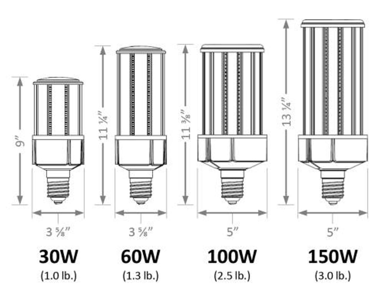 30W LED Corn Bulb 3373 lumens, 5000 kelvin, 120-277V, Mogul Base (E39) - (UL+DLC)
