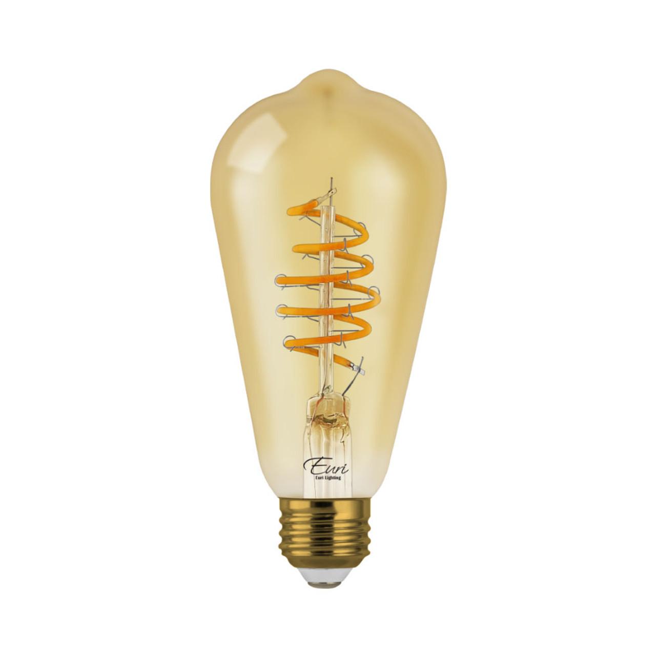 A19, Omni-Directional, LED Light Bulb, Dimmable, 4.5 W, 120 V, 250 lm, 2200 K, E26 Base, Amber Glass Body (VST19-3020ad)