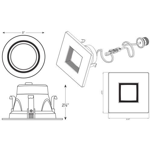 4 inch LED Retrofit Downlight Square Trim Line Art