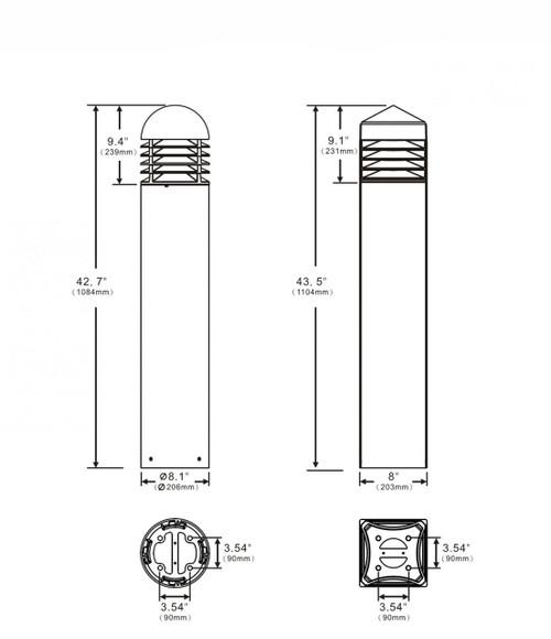 LED Bollard dimensions