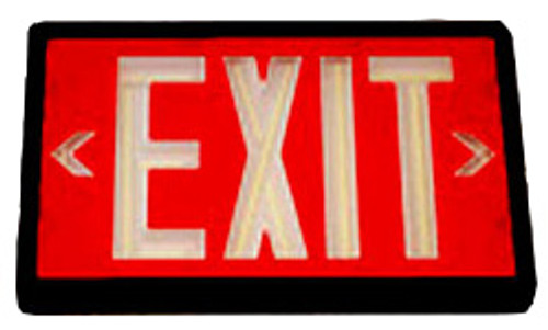 Betalux Self Luminous Exit Sign 20 year Red Face Black Housing