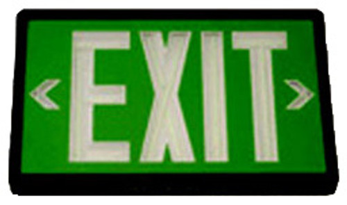 Betalux Self Luminous Exit Sign 20 year Green Double Face Black Housing