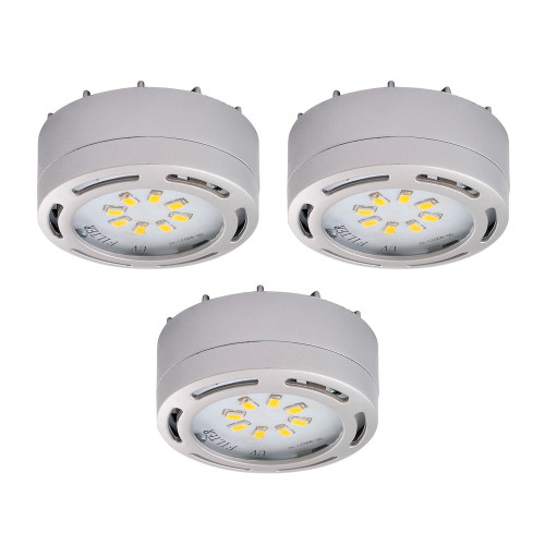 3 - LED Puck Light 12 Watt, 825 lumens , 3000 kelvin - Nickel