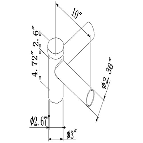 Pole Tenon Spoke, Twin Bracket 90 Degree Arms, LED Street Light, Shoebox Parking Light, Parking Lot Pole Bracket
