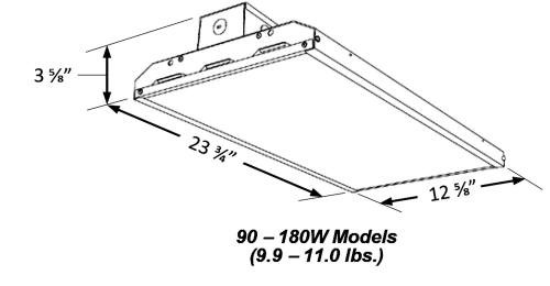Slim Linear LED High Bay, 180 Watt, 24603 lumens, 120-277V, UL and DLC Listed, Dimmable - 4K-5K