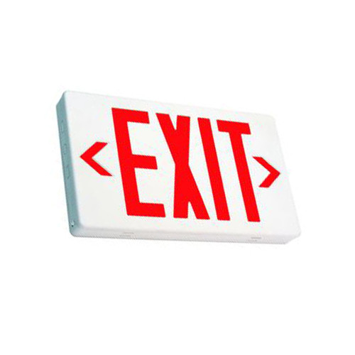 Red Lettering White Housing LED Exit Sign with Battery Back-Up