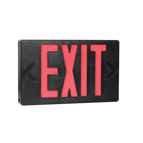 Red Lettering Black Housing LED Exit Sign with Battery Back-Up