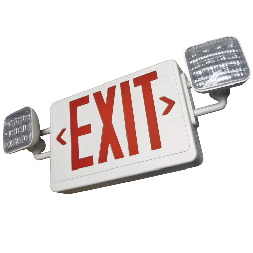 Red Lettering White Housing LED Exit Combo Sign with Battery Back-Up