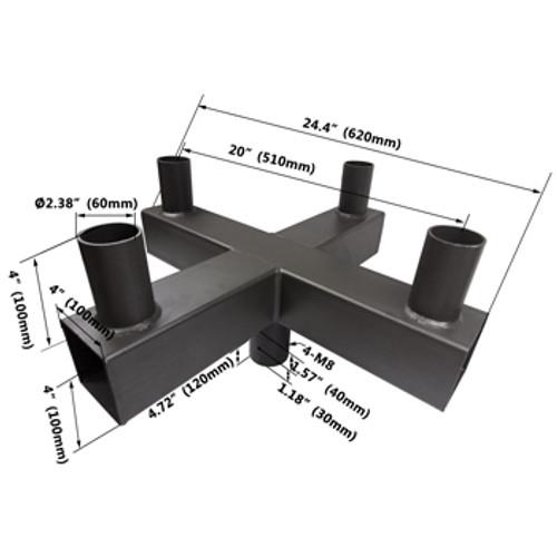 90° Quad Square Vertical Tenon for 4 fixtures - dimensions
