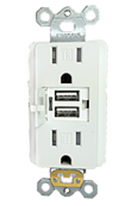 15 AMP USB Tamper Resistant Decora Receptacle