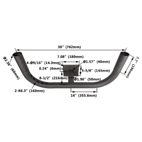 Double 180 Round Wall Mount Bracket - dimensions
