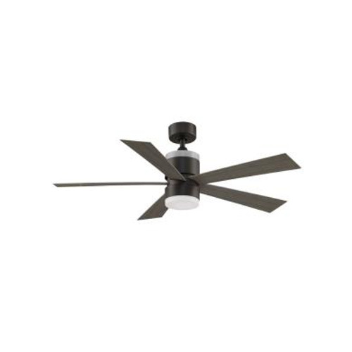 "Torch 52"", 5 Blade Ceiling Fan, Matte Greige Finish with Weathered Wood Blade Finish with Opal Frosted Glass, 120V, 3 Speed, Reversible, Fanimation Fan (FP8458GR)"