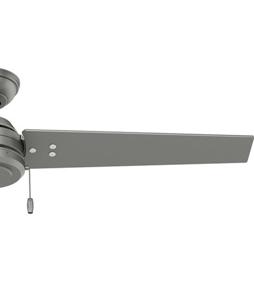 "Cassius 52"" Ceiling Fan, 3 Blade, Matte silver with Black Willow or Silver blades, Hunter Fan (59262)"