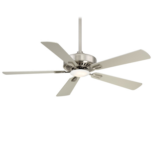 "52"", 5 Blade Ceiling Fan, Brushed Nickel with Silver blades, 120V, 3 Speed, Reversible, Includes Light, Includes Hand control, Minka Aire Fan (F556L-BN)"