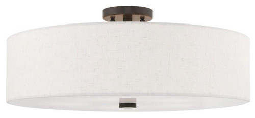 "Livex Lighting Meridian 5 Light Ceiling Mount , 22"" Semi Flush Mount, English Bronze finish with Handcrafted Oatmeal Fabric Hardback Shade, Ceiling Mount, 120V, 5 x 60 Watt Incandescent (52141-92)"