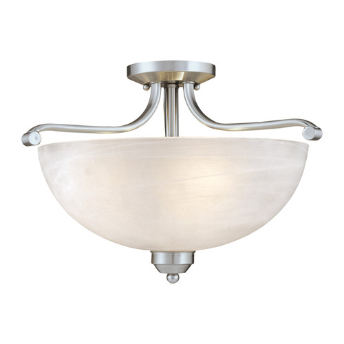 "Minka Lavery Paradox Light, 14.75"" Semi Flush Mount, Brushed Nickel with Etched Marble Glass shade, 120V, 3 Bulb Incandescent, E26 Base (1424-84)-5000 kelvin LED Bulbs"