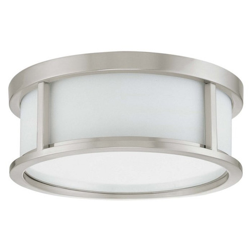 "Nuvo Odeon 13"", Brushed Nickel with Satin White Glass, 2 Light, Ceiling Mount Flush Dome with Satin White Glass, 120V, 2@60W (60-2859)"