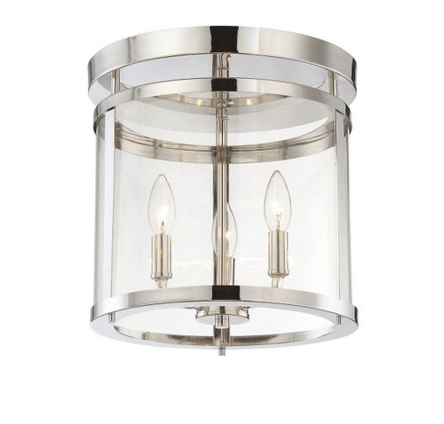"Savoy House Penrose 13"", 3 Light, Polished Nickel, Semi-Flush Ceiling Light, Dimmable, 120V (6-1043-3-109)"