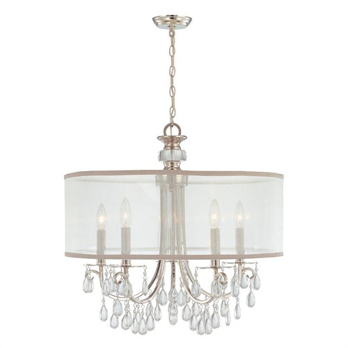 "Hampton 24"" Five light Drum Shade Chandelier by Crystorama, Polished Chrome Finish, 120V, 300W, Dimmable, UL Listed Dry (5625-CH)"