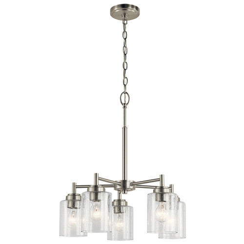 """Winslow 19.75"""" Five Light Small Chandelier by Kichler, Brushed Nickel finish with Clear Seeded Glass, 120V, 375W, Dimmable, UL Listed Dry (44030NI)"""
