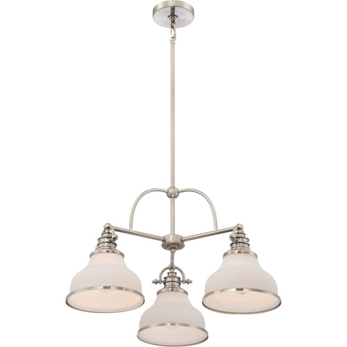 Grant 3-Light, Single Tier Chandelier by Quoizel, Brushed Nickel with Semi Gloss Finish and Opal Etched Glass Shades, 120V, 300W, ETL Listed Dry (GRT5103BN)