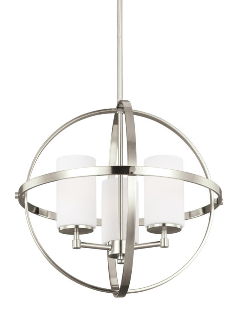 """Alturas 19"""" Three Light Chandelier from the Sea Gull Collection by Generation Lighting, Brushed Nickel finish with White Etched glass, 120V, 300W, ETL Listed Damp (3124603-962)"""