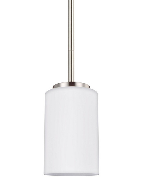 Oslo 1 Light Mini-Pendant by Sea Gull Lighting, Brushed Nickel Finish with Cased Opal Etched Glass, 120V, 100W, UL Listed (61160-962)