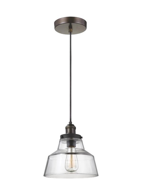 Baskin - 10 Inch One Light Pendant, Polished Nickel Finish with Clear Glass, 120V, 60W, Dimmable (P1348PN)