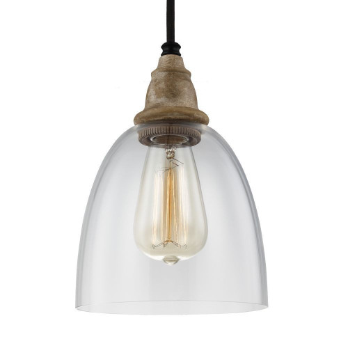 Matrimonio - One Light Mini Pendant, Driftwood/Dark Weathered Zinc Finish with Clear Glass, 120V, 60W, Dimmable (P1394DFW-DWZ)